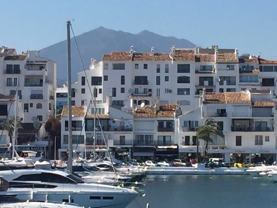 Directly looking at the apartment from the marina, the apartment is on the second highest floor so has fantastic views