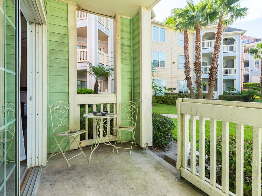 You've got your own private patio - head out through here to the pool!