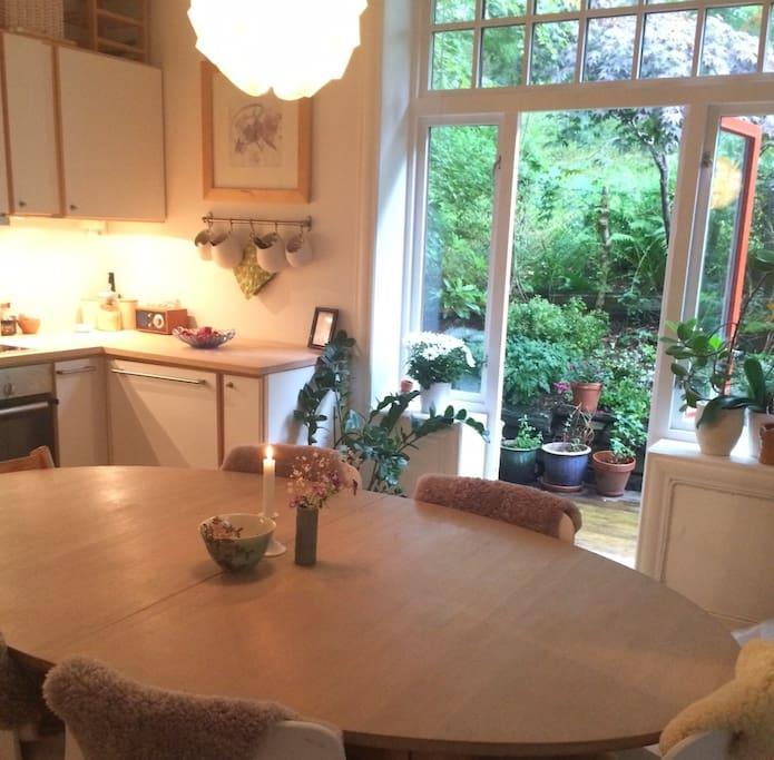 Kitchen with access to garden