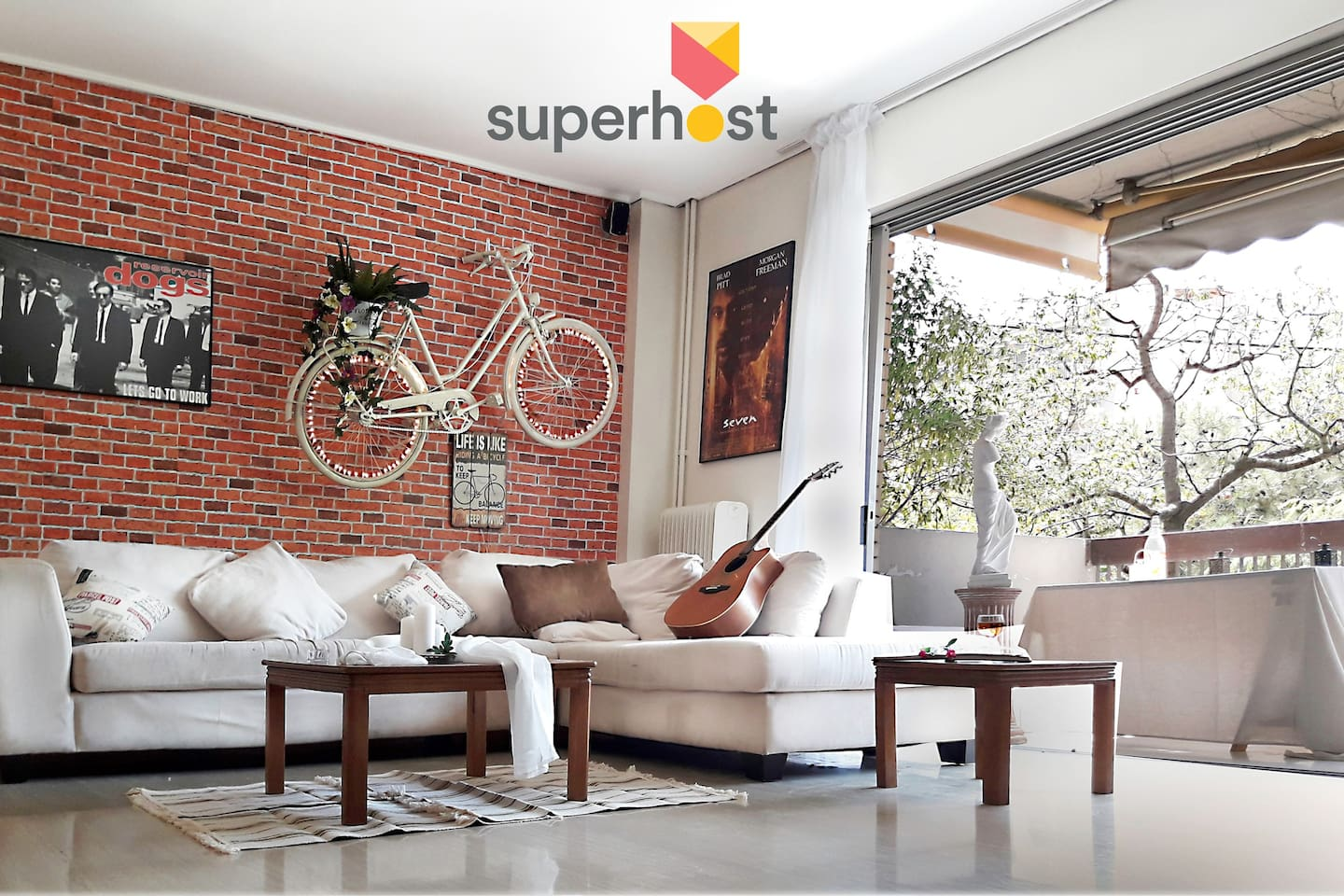 The 'bike on the wall' living room.