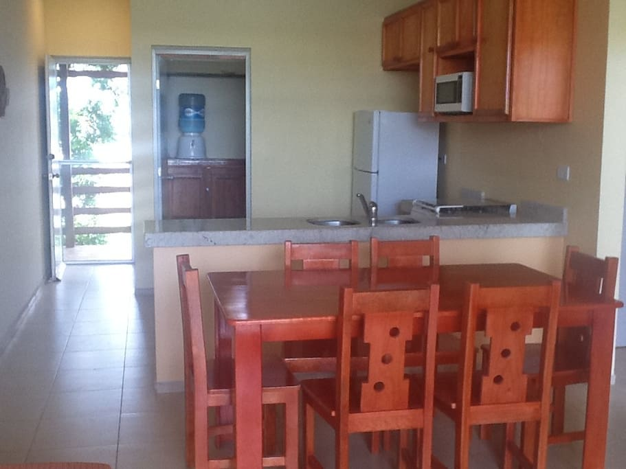 Kitchen with dining for six.  Invite some friends over!