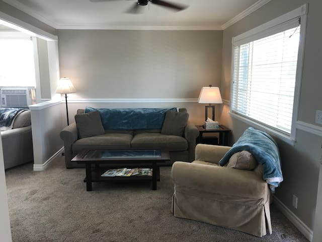 Front room with high end sofa and slip cover chair. Plenty of throw blankets to keep you cozy! The couch is extremely comfortable, and without the back pillows, about the size of a twin bed!