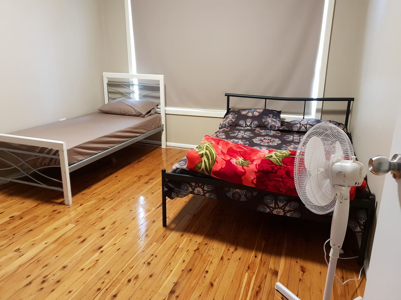Room has both double and single bed, room size is big