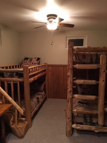 2 sets of log bunk beds