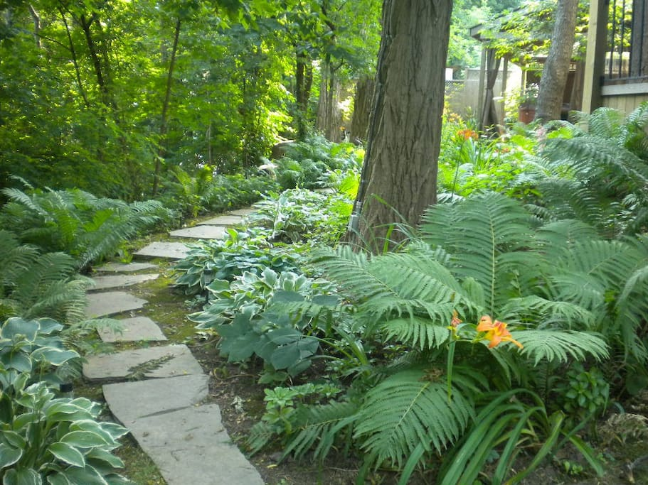 The back garden overlooking the town of Dundas - offers guests a calming refuge when they step out their front door.