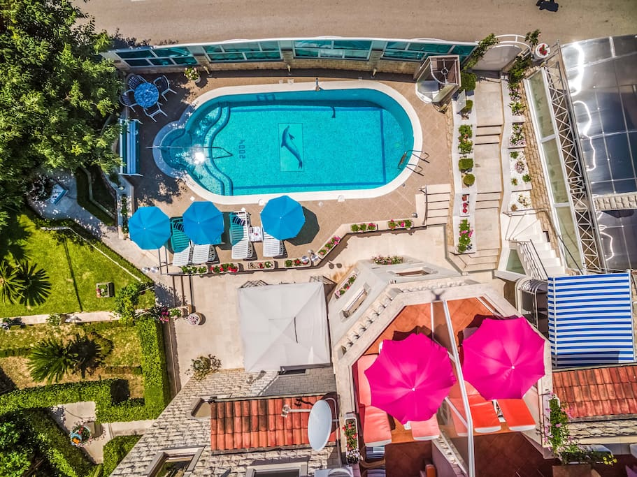 Aerial view on the swimming pool