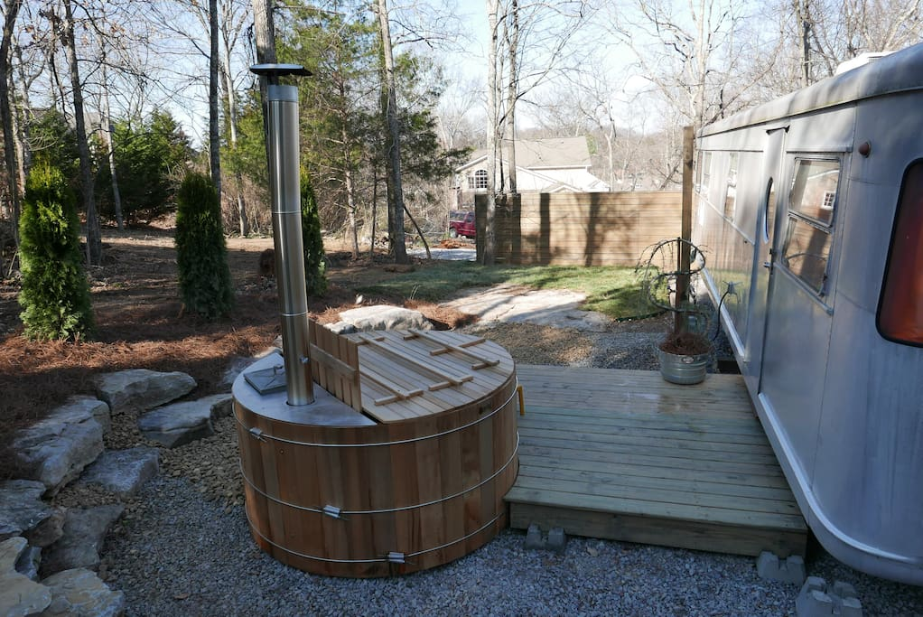 The back porch and hot tub