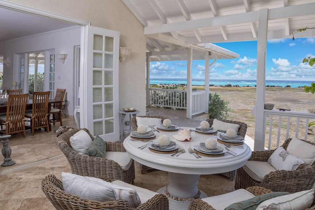 Outside dining area with ocean views