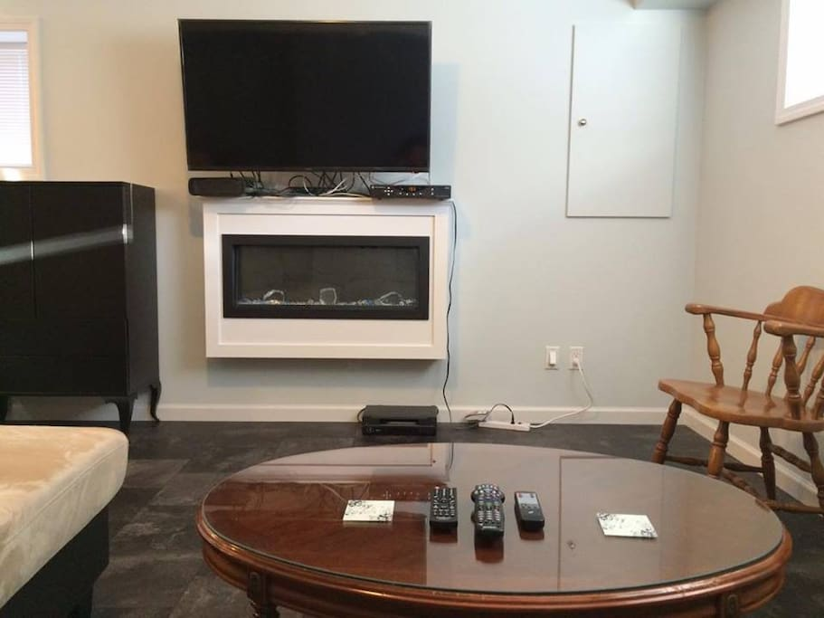Living Area with TV and fireplace