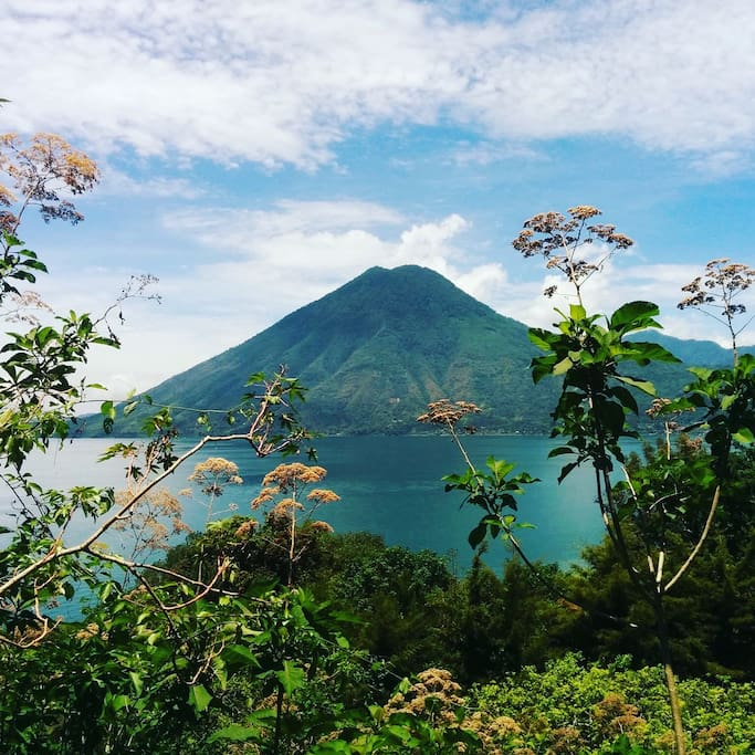 View of Volcan Atitlan on the walk to San Marcos