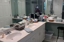 Large bathroom with shower and tub.  Double sinks