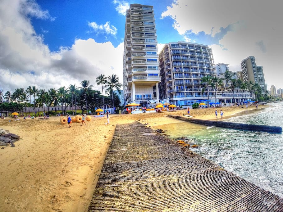 Waikiki Shore is the tall building...