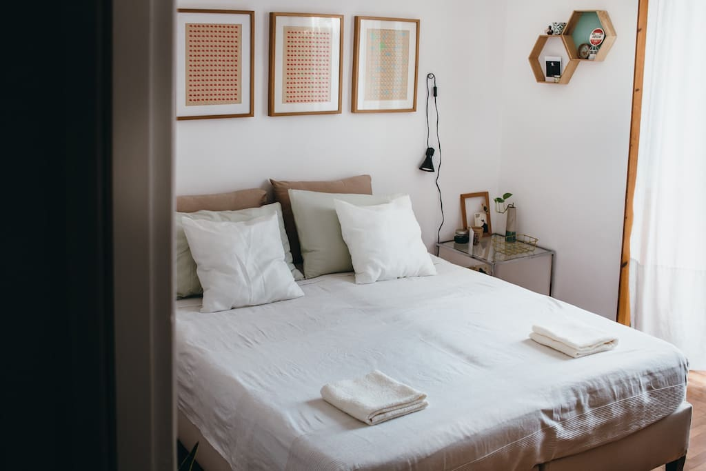 The bedroom, with a double bed, or two single beds