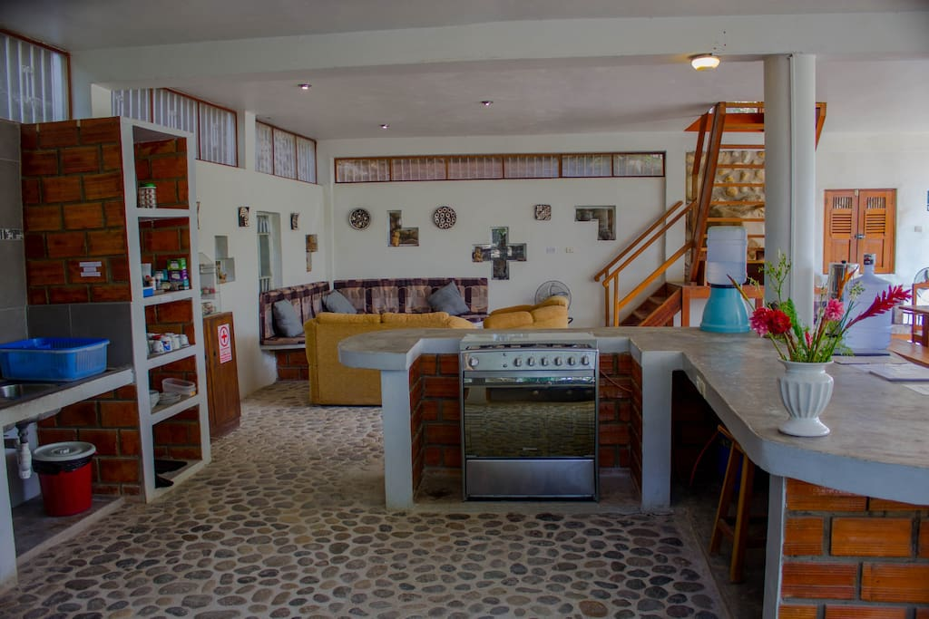 Panoramic of the gorgeous communal first floor.  The stonework was laid by hand and sustainably harvested from the Huallaga river.