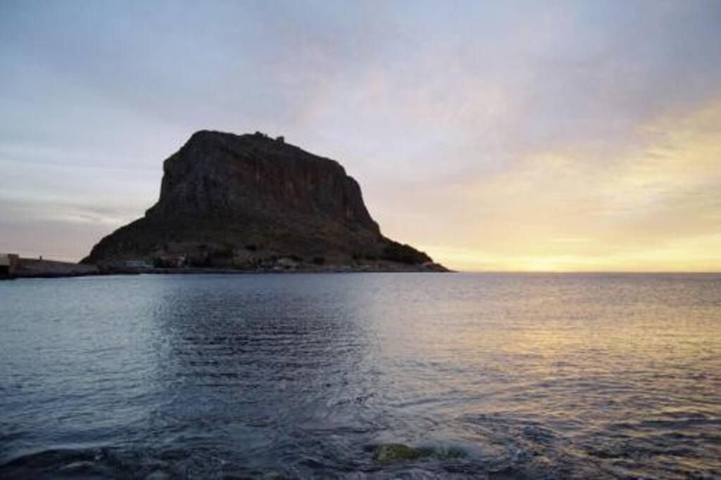 Monemvasia castle at dawn