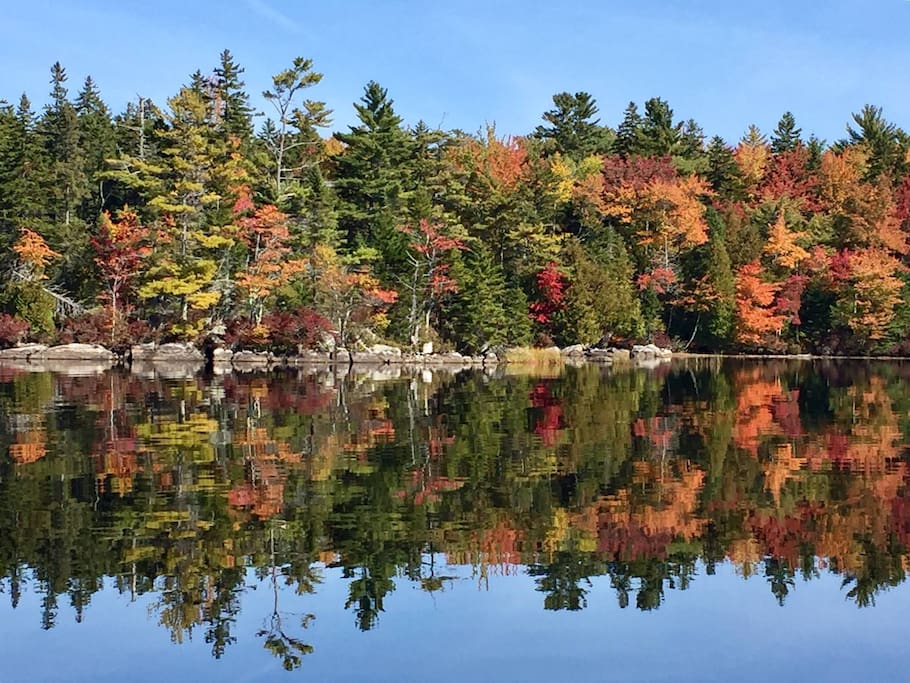 A view of lake foliage (with mirrored reflection) from the water in the fall - leaves starting to turn