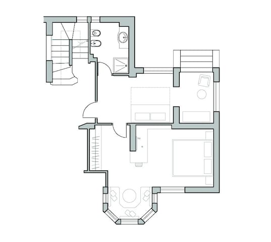 YELLOW: Suite deluxe - plan of the accommodation