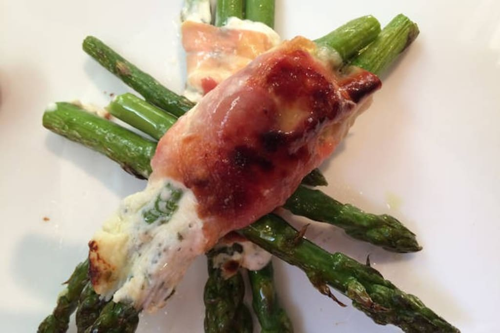 Grilled Roasted Asparagus Wrapped In Herb Chevre & Prosciutto