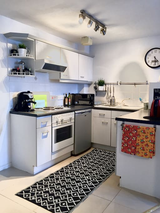 Kitchen is complete with oven/hob, fridge, freezer, microwave and washing machine. All crockery and cutlery provided.