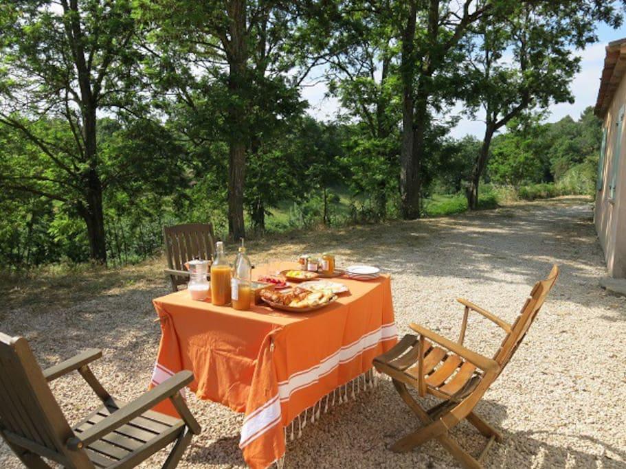 petit déjeuner avec produits de la région. inclus jus et confitures bio, fruits, viennoiserie, tartines, thé,café.. Petite participation.