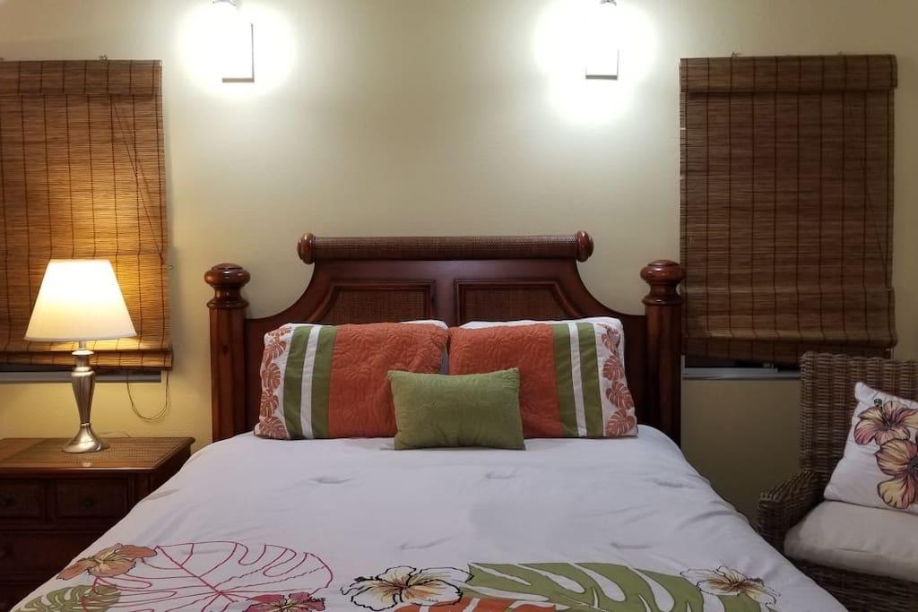 Queen size pillow top mattress and Hawaiian bed frame