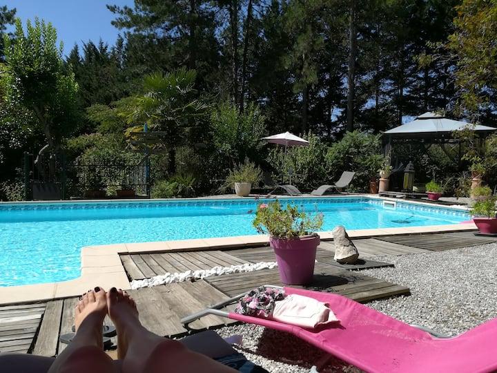 Villa, piscine,  les pins... quel bonheur !!