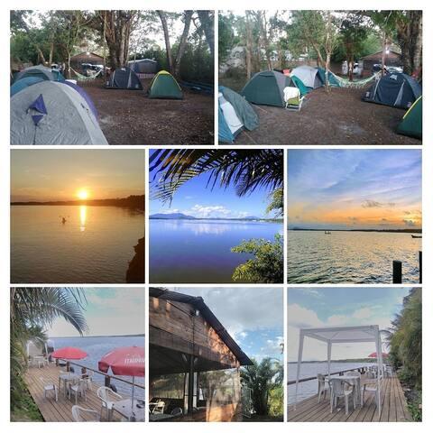 Espaço de lazer, píer para pesca e nadar. Serviço de quiosque com refeições, porções e bebidas.