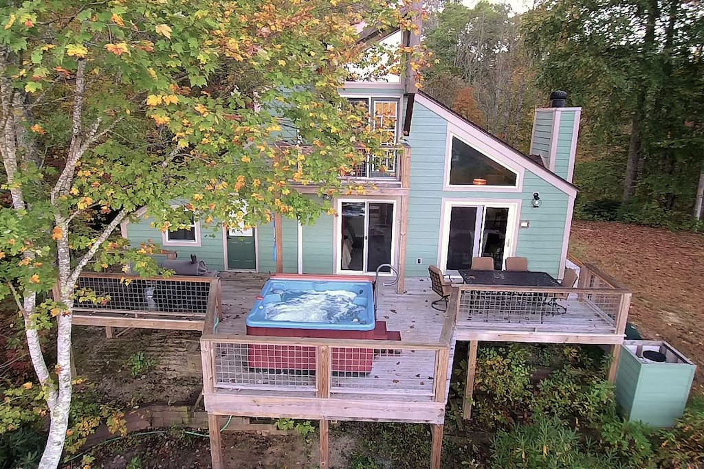 Drone photo showing the back of the house.