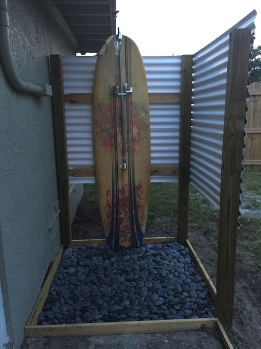 Outdoor shower with hot River stones