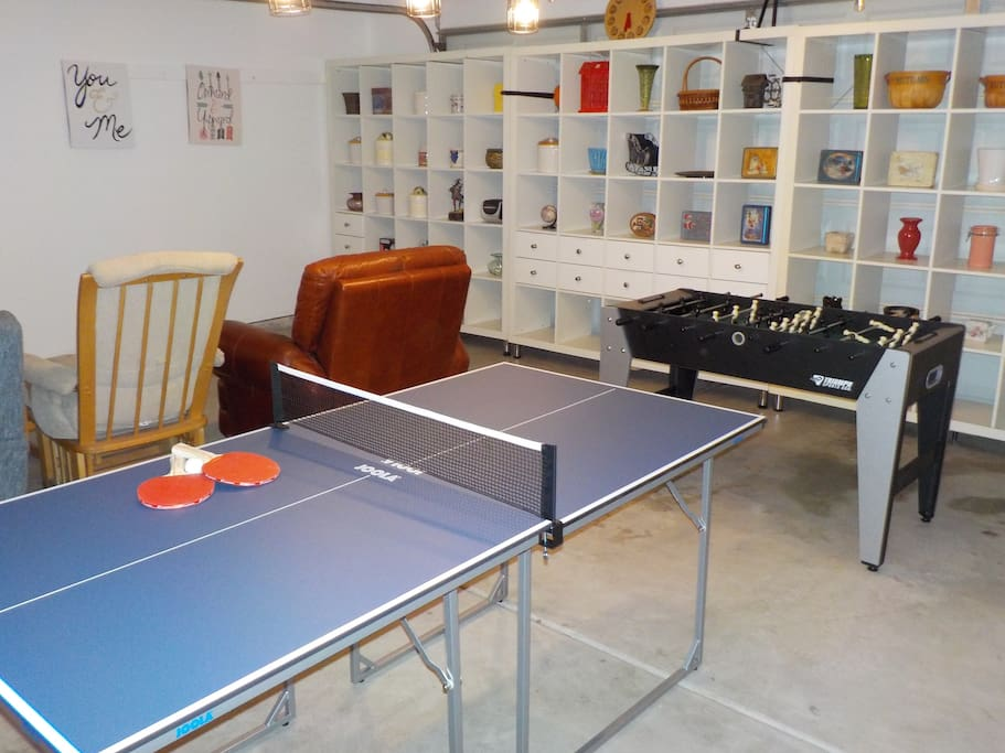 Game Room with 55-inch TV, Table Tennis, Foosball, Darts, Putting Green, etc.