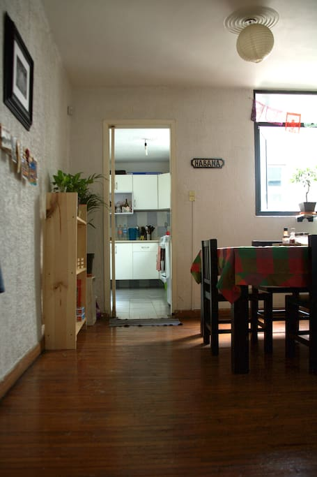 View of the kitchen from the living room