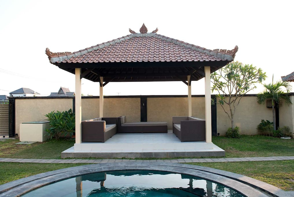 Another highlight of the property is our Gazebo where you can just unwind by just sitting and relax in this area, and dip in to the pool right away or just sitting enjoying the breeze coming from Berawa Beach and rice field breeze surround the property.