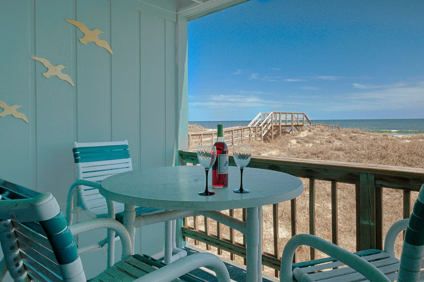 Covered ocean front deck area.   Accessed from living room and master bedroom.