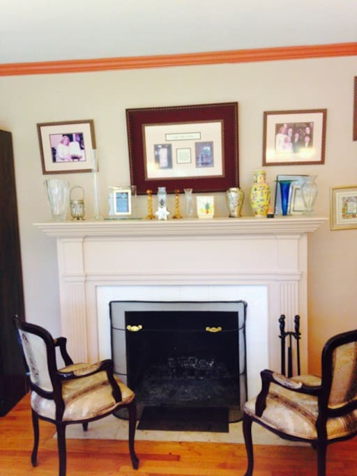 The charming working fireplace is used during the fall winter and spring to add charm and warmth to the dining room.