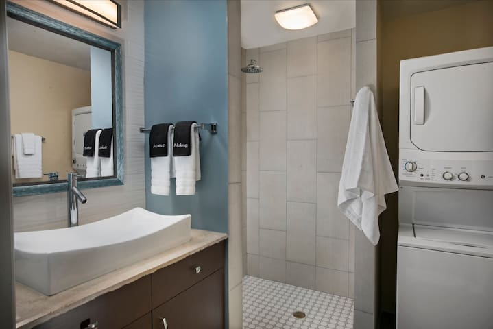 Beautifully appointed bathroom with washer and dryer