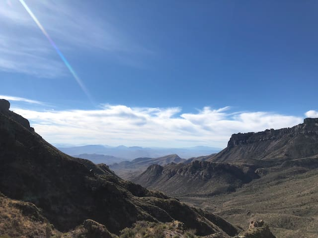 The view from the top of Lost Mine Trail. This is one of the highest peaks in Big Bend NP, but is a much quicker and easier hike than Emory Peak. Another good one to check out. The entrance to Big Bend NP is 25 miles from the property. It's a beautiful, relaxing drive to get to the park.