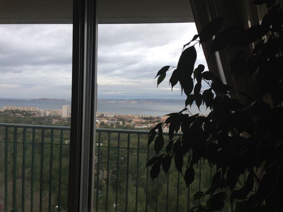 séjour balcon vue panoramique mer