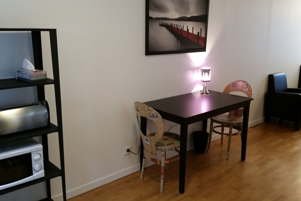 Bookcase and dining area