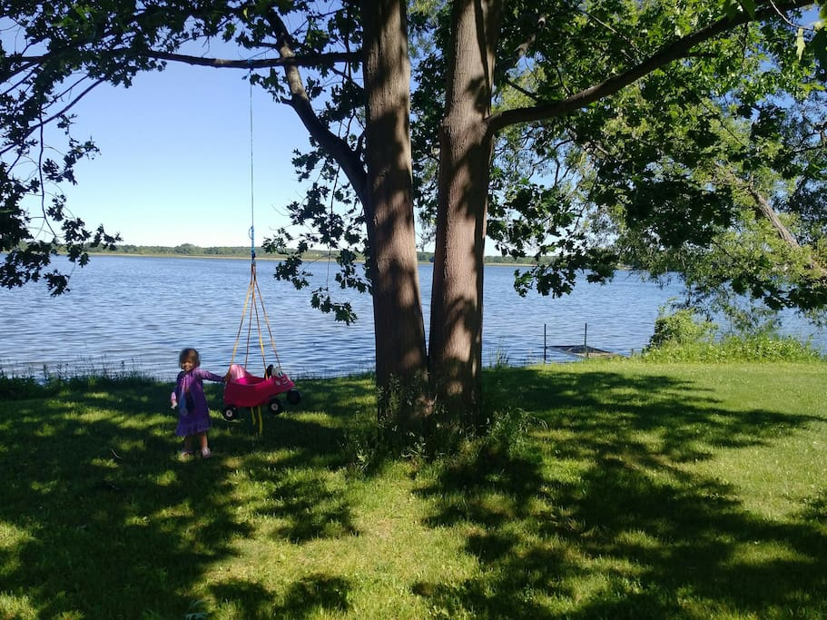 This swing at the waters edge is sure to be a hit with the little ones!