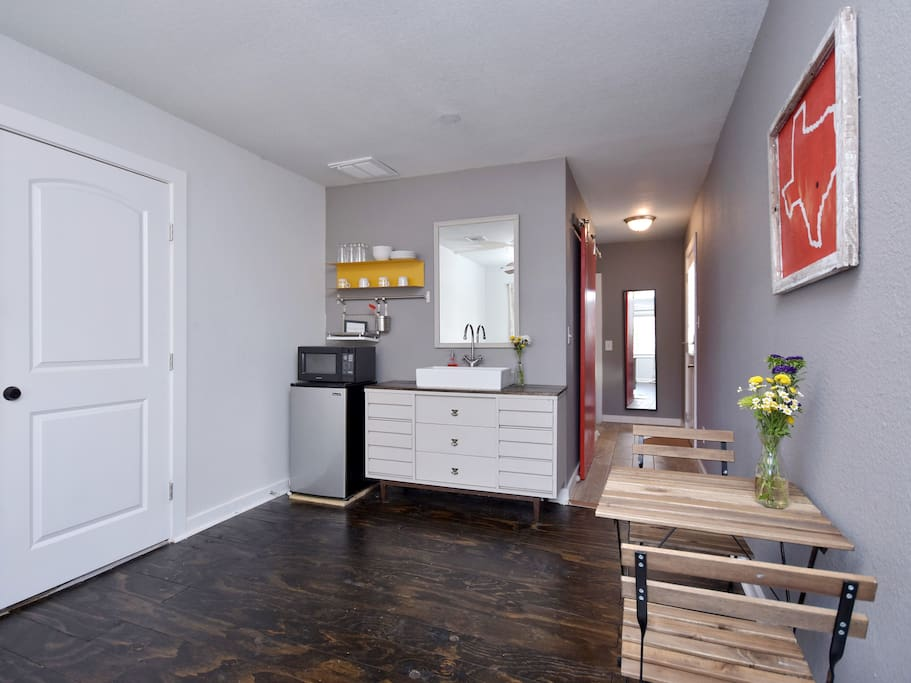 Living area with small kitchenette