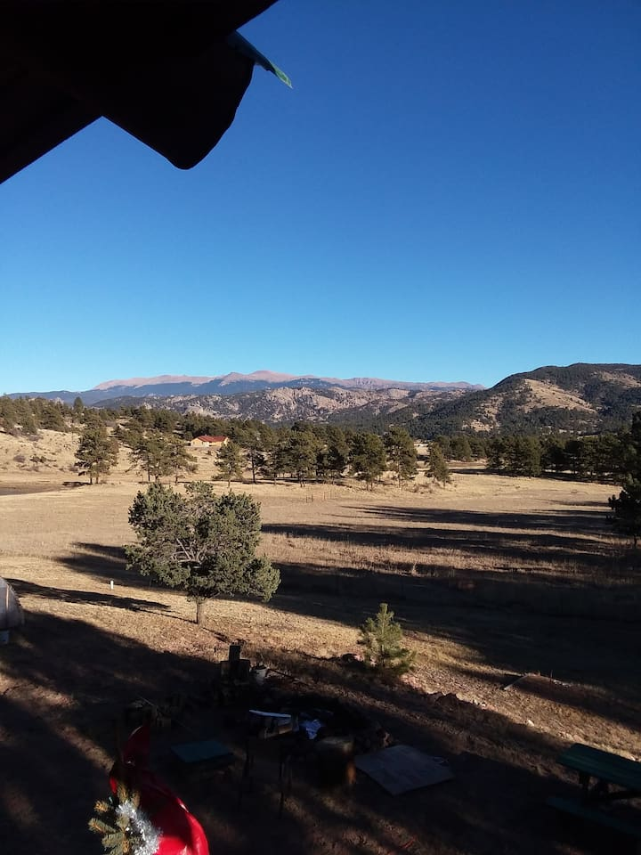Views from the deck. The far mountain range is Pikes Peak