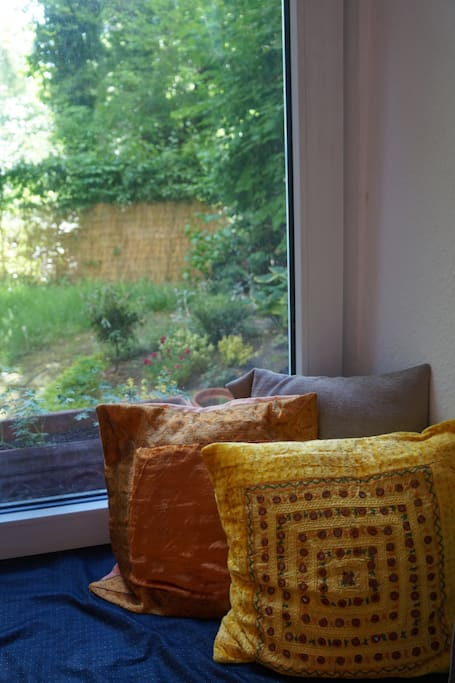 Bedroom window seat to garden