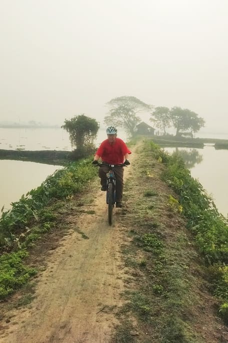 One of the trails with water bodies