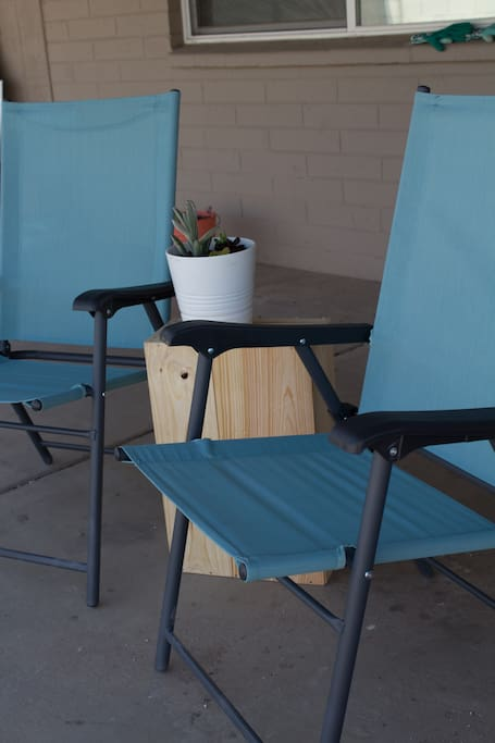 Outdoor seating on back patio