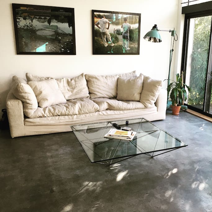 Large pillowy couch and designer coffee table.