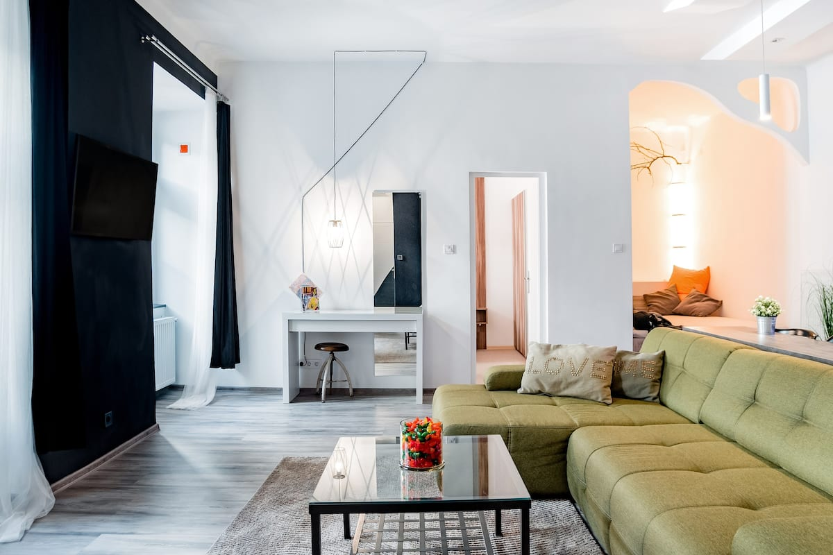 Stroll to Upscale Shops from a Colorful Apartment