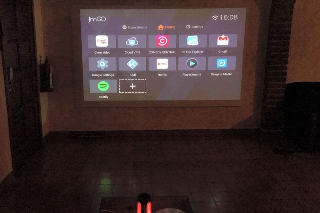 Huge projector screen with netflix, youtube, and kodi media player