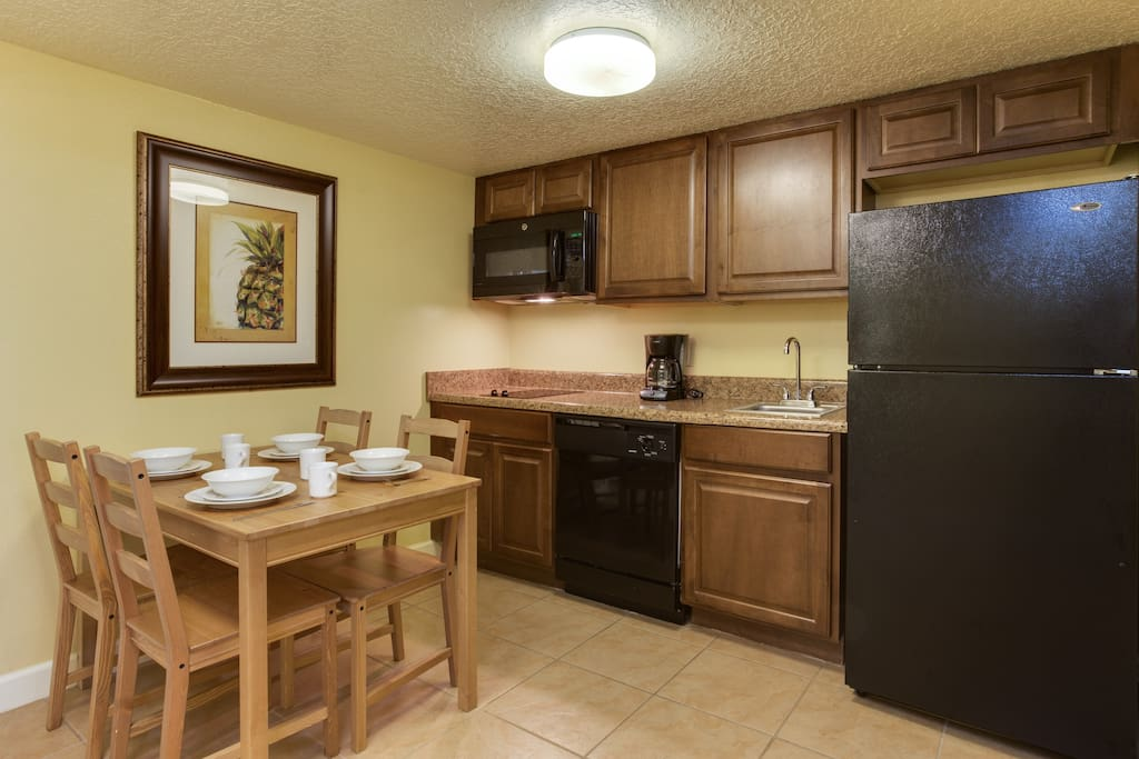 Full kitchen with all cookware, utensils, and dishware included.