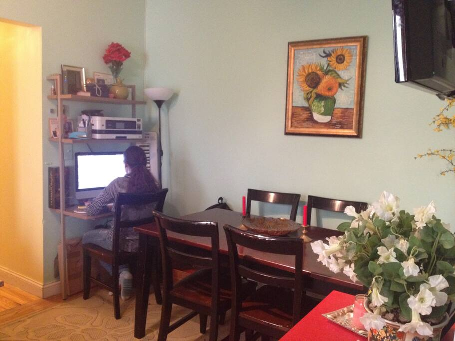 girl's HW space and dining table...