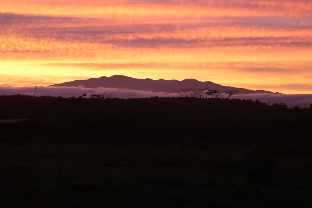sunset mauna kea view from house